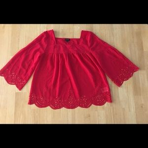 JESSICA SIMPSON Red Sheer Blouse / SZ S